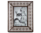 Antique Punched Metal 22x26cm Photo Frame - Brown 1