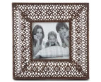 Antique Punched Metal 19x19cm Photo Frame - Brown 1