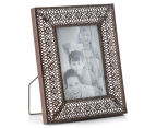 Antique Punched Metal 22x26cm Photo Frame - Brown 2