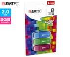 EMTEC C410 Color Mix USB 2.0 8GB Flash Drive 3-Pack - Blue/Green/Plum 1