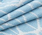 The Peanut Shell Knitted Reversible Bamboo Blanket - Blue 5