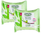 2 x Simple Cleansing Facial Wipes 25pk 1