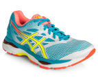 ASICS Women's GEL-Cumulus 18 Shoe - White/Safety Yellow/Blue Atoll 2