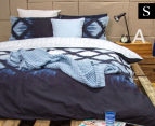 Ardor Arashi Reversible Single Bed Quilt Cover Set - Indigo 1