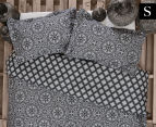 Ardor Arabesque Reversible Single Bed Quilt Cover Set - Charcoal 1