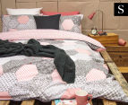 Ardor Madden Reversible Single Bed Quilt Cover Set - Coral 1
