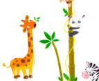 Giraffe, Zebra, Monkey & Panda Height Chart Wall Decal 3