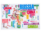 World Map Text Wall Decal 2