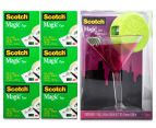 Scotch Magic Cosmo Tape Dispenser + Magic Tape Rolls 6-Pack 1