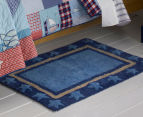 Freckles 90x60cm Marine Cotton Floor Rug - Blue 2