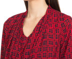 Diana Ferrari Women's Dixie Check Drape Blouse - Cherry/Multi 6