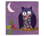Asiatic Hand Tufted 130x130cm Owl Rug - Purple 2