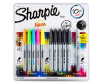 Sharpie Permanent Marker Neon & Black 10-Pack w/ Bonus Metallic Silver 1