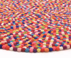 Handcrafted 120x120cm Pure Wool Gumball Rug - Multi 3