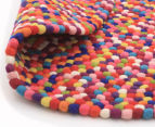 Handcrafted 90x90cm Pure Wool Gumball Rug - Multi 5