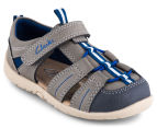 Clarks Toddler Scuba Wide Fit Sandal - Charcoal/Blue 2