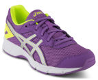 ASICS Grade-School Kids' GEL-Galaxy 9 Shoe - Orchid/Silver/Safety Yellow 2