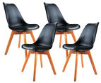 Set of 4 Eames Padded Dining Chair - Black 1