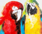 Parrot Couple on Branch 90x60cm Oil on Canvas Wall Art 4