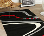 Bold Swirl 230 x 160cm Rug - Black/Red/Grey 2