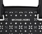 Michael Kors Selma Floral Perforated Medium Leather Satchel - Black/Nickel 4