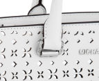 Michael Kors Selma Floral Perforated Medium Leather Satchel - White/Silver 5