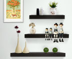 3-Piece Wall Floating Shelf Set/Bookshelf Display - Black 5