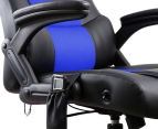 8-Point Massage Racing Chair - Black/Blue 5