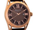Kenneth Cole Men's 44mm Classic Leather Strap Watch - Rose Gold/Brown 2