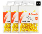 3 x Esselte Push Pins 50-Pack - Yellow 1
