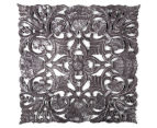 Fanned 70x70cm Carved Wood Wall Hanging - Distressed Grey 1
