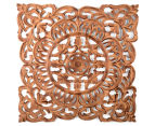 Classic Square 70x70cm Carved Wood Wall Hanging - Burnt Brown 1