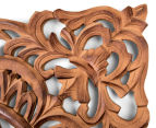 Classic Square 70x70cm Carved Wood Wall Hanging - Burnt Brown 3