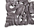 Fanned 70x70cm Carved Wood Wall Hanging - Distressed Grey 4