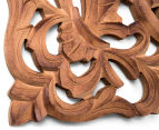 Classic Square 70x70cm Carved Wood Wall Hanging - Burnt Brown 4