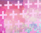 Cooper & Co. 80cm Round Canvas Wall Art - Pink Crosses 4