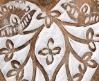 Set of 2 Nested Mango Wood Carved Hanging Hearts - Brown 4