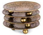 Set of 4 Small Vintage Look Etched Footed Bowls - Antique Gold 5