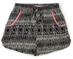 Funky Babe Girls' Mono Print Board Shorts - Black/White 1