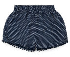 Funky Babe Junior Girls' Spotty Pom Pom Shorts - Navy 1