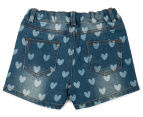 Funky Babe Junior Girls' All Over Hearts Denim Shorts - Blue 2