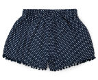 Funky Babe Junior Girls' Spotty Pom Pom Shorts - Navy 2
