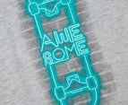 Urban Crusade Junior Kids' Neon Skateboard Tee - Grey Marle 3