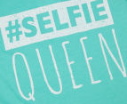 Funky Babe Older Girls' Selfie Queen Tee - Mint 3