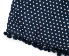 Funky Babe Junior Girls' Spotty Pom Pom Shorts - Navy 4