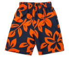BQT Baby Crab Applique Top & Board Shorts 2Pc Set - White/Navy/Orange 5