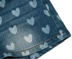 Funky Babe Junior Girls' All Over Hearts Denim Shorts - Blue 5