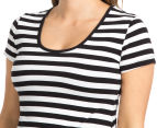 Ripe Maternity Striped T-Shirt Dress - Black/White 6