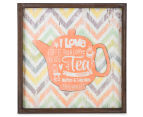 Orange Teapot 40x40cm Square Framed 3D Metal & Wooden Wall Hanging 1