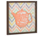 Orange Teapot 40x40cm Square Framed 3D Metal & Wooden Wall Hanging 2